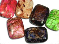 30x22mm Rectangle Shape Impression Jasper Cabochons  #cabochons #gemstones