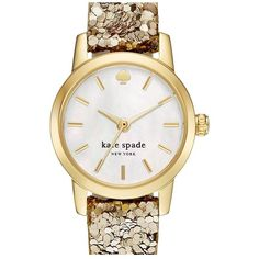 kate spade new york 'tiny metro' embellished leather strap watch, 20mm ($105) ❤ liked on Polyvore featuring jewelry, watches, accessories, leather strap watches, sequin jewelry, quartz movement watches, kate spade jewelry and kate spade watches