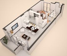 Small and modern house plans Small Apartment Plans, Studio Apartment Floor Plans, Studio Apartment Layout, Small Apartment Interior, Small Apartments, Apartment Design, One Bedroom House Plans, Small House Floor Plans, Modern House Plans