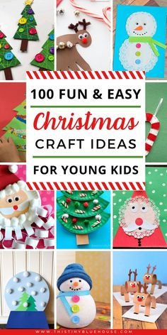 100 Easy Festive Christmas Crafts For Kids - Get into the holiday spirit with these 100 easy festive Christmas crafts for kids! Suitable for kiddos of all ages and super inexpensive to make, these crafts are guaranteed to provide hours of fun! Frugal Christmas, Christmas Games For Kids, Merry Christmas, Christmas Activities, Diy Christmas Gifts, Simple Christmas, Holiday Crafts, Holiday Fun, Blue Christmas