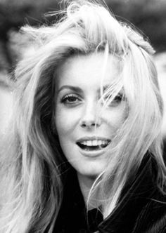 Long hair Catherine Deneuve, actress