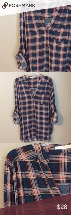 Plaid Henley Worn Once! This lightweight shirt is perfect for any season! It's very soft and hangs like a dream over leggings or jeans! Tops