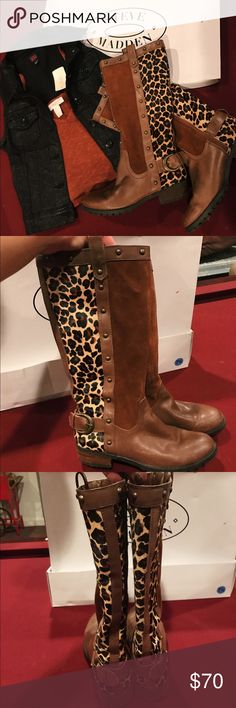 """Steve Madden Leopard Suede Leather Tall Boots Steve Madden brown suede leopard with calf hair and studs tall boots! Size 7.5. Amazing quality! (says """"leather upper and balanced man made material"""" inside the boot) Super soft feel and beautiful unique design. If you'd like measurements of shaft height ask in comments! Shown with BeBe Denim Vest and Forever 21 Flowy Tank crop top (both are available for purchase in listings!) Worn but in good condition! *NO TRADES BUT AM OPEN TO OFFERS AND AM…"""
