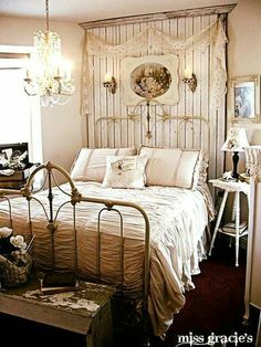 Taking shabby chic to a new level, this bedroom is gorgeous.
