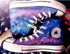 Galaxy Converse Converse high top by MissXieHandpainting on Etsy, $84.99