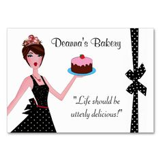 Bakery Pastry DIVA Chubby Business Cards. This is a fully customizable business card and available on several paper types for your needs. You can upload your own image or use the image as is. Just click this template to get started!