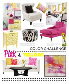 """""""Color Challenge: Pink & Yellow"""" by grapecrush ❤ liked on Polyvore featuring interior, interiors, interior design, home, home decor, interior decorating, Bernhardt, XVL, Armen Living and Imax Home"""