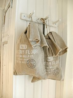Love these antique flour bags! And I have lots of real bags to utilize.