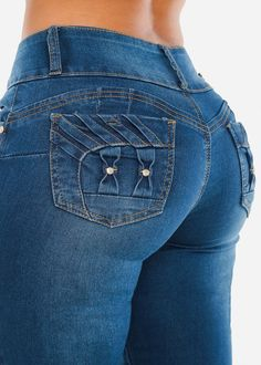 Butt Lifting Push Up Mid Rise Skinny Jeans - Blue Med Wash Skinny Jeans Light Wash Skinny Jeans, Blue Skinny Jeans, Mid Rise Skinny Jeans, Distressed Skinny Jeans, 2020 Fashion Trends, Spring Fashion Trends, Curvy Jeans, Sexy Jeans, Sexy Outfits