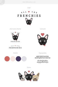 Brand and website design for All The Frenchies - a French Bulldog blog!