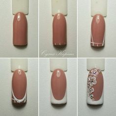 step by step white flowers nail art