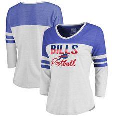 Buffalo Bills NFL Pro Line by Fanatics Branded Women s Plus Size Color  Block 3 4 Sleeve Tri-Blend T-Shirt - White c66057092