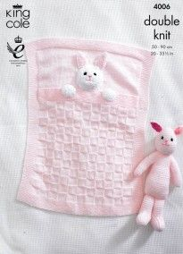 baby blankets and bunny rabbit toy in king cole dk 4006 - PIPicStatsDiscover thousands of images about Buggy/ Pram BlanketA beautiful way to welcome a new arrival. This delightful set consists of two bl. Rabbit Baby, Rabbit Toys, Bunny Toys, Baby Bunnies, Rabbit Cages, Cot Blankets, Knitted Baby Blankets, Baby Blanket Crochet, Baby Knitting Patterns