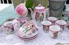 Victorian Pink Lusterware Childs Porcelain Tea Set