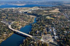 Great photo of Folsom Lake as well as the Folsom Dam that creates Lake Natoma.