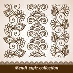 Ornamental seamless borders. Vector set with abstract floral elements in indian style. Mendi collection