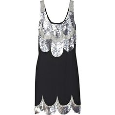 Trinity sequined mini dress ($441) ❤ liked on Polyvore featuring dresses, black, sequins, vestidos, women, scalloped dress, scalloped sequin dress, embellished dress, mini dress and sequined dresses