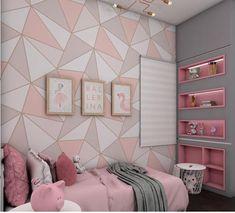 Bedroom Wall Designs, Room Design Bedroom, Room Ideas Bedroom, Bedroom Decor, Pink Bedroom Walls, Girls Bedroom, Girls Room Paint, Girl Room, Stylish Bedroom