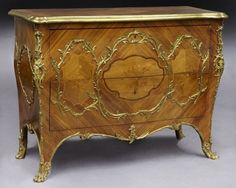 56: Louis XV style marquetry and ormolu commode, : Lot 56