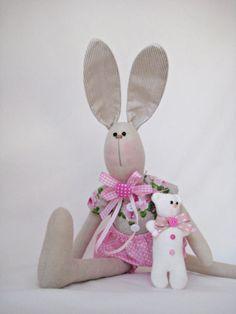 Bunny/ Tilda bunny/ Bunny and Teddy Bear/ by HappyBunnyHandmade
