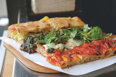 Try making this focaccia-style square pizza, with a choice of toppings.