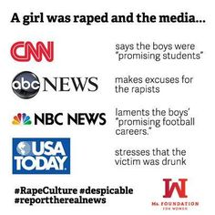 #feminism #rapeculture Call These Media Vile Villains And Voice Your Objections To Stop Making The Victims Look Guilty and Making The Real Guilty People Look Innocent Of Any Wrong Doing.