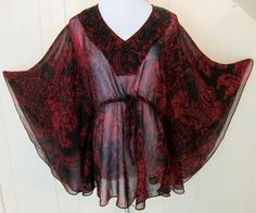 Women's Sz M Sheer Batwing Red & Black Embellished Tunic Top #Unbranded #Tunic