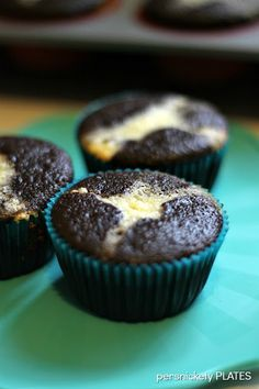 Persnickety Plates: Cheesecake Filled Black Bottom Cupcakes