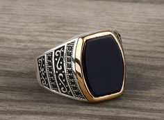 925 K Sterling Silver Man Ring Black Onyx Gemstone 10,75 US Size $50.81