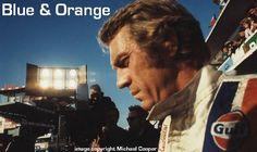 Steve McQueen's film 'Le Mans' gave the Gulf Porsche 917 an iconic status, and a chapter in Blue & Orange features stories and photographs of the Hollywood legend, some of which are being published for the very first time. Hollywood Stars, Classic Hollywood, Steve Mcqueen Le Mans, The Legend Of Heroes, Good Color Combinations, Classic Movies, Bad Boys, Blue Orange, Race Cars