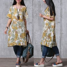 Loose Fitting Cotton And Linen Long Shirt Blouse for Women Short Sleeved Women Clothing - Women Dress Quirky Fashion, Boho Fashion, Girl Fashion, Fashion Design, Indian Designer Outfits, Kinds Of Clothes, Loose Fitting Tops, Modern Outfits, Linen Dresses