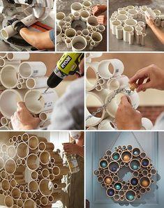 Diy Crafts For Home Decor, Diy Crafts Hacks, Diy Room Decor, Fun Crafts, Pvc Pipe Crafts, Pvc Pipe Projects, Diy Resin Crafts, Wood Projects, Deco Floral