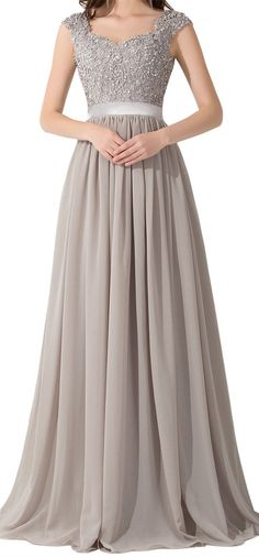 Babyonline Grey Elegant Evening Dresses Beautiful Lace Embroidery. Absolutely beautiful, and apparently long enough.
