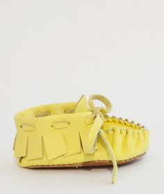 Yellow baby moccasins