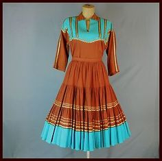 squaw dress | ... -Western-Rodeo-Queen-ROCKABILLY-DRESS-Squaw-Patio-SET-Circle-Skirt-XL.  Want it!