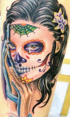 Realism Muerte Tattoo by John Pohl - http://worldtattoosgallery.com/realism-muerte-tattoo-by-john-pohl-2/