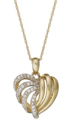 Wrapped in LoveTM 14k Gold Diamond Heart Pendant Necklace (1/6 ct. t.w.)