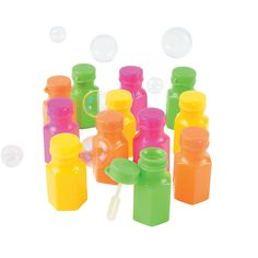 Neon Hexagon Bubble Bottles - OrientalTrading.com  Only colored ones I could find so far.
