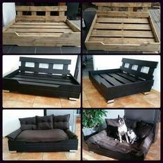 DIY Palettenhundebett, moderne schwarze Art - Diy Baby Deko - Ich Folge - My list of the most beautiful artworks Dog Furniture, Pallet Furniture, Furniture Buyers, Furniture Stores, Diy Dream Catcher, Pallet Dog Beds, Pallet Dog House, Dog Bed From Pallets, Dyi Dog House