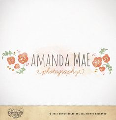Hand Drawn Premade Logo Watercolor Flowers for Blog Etsy Banners. $39.90, via Etsy.