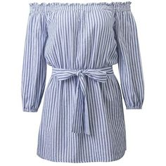 Off Shoulder Striped Belted Dress (135 DKK) ❤ liked on Polyvore featuring dresses, rosegal, vestiti, dresses with belts, belted dresses, off shoulder dress, off the shoulder dress and striped dresses
