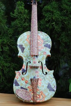 Decoupage Violin by MiniatureClayShop on Etsy