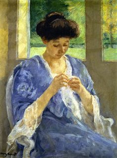 Augusta Sewing before a Window Mary Cassatt - circa 1910