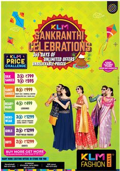 View Klm Fashion Mall Sankranthi Celebrations 365 Days Of Unlimited Offers Ad newspaper. This Ad is collection of Sample Ad at Advert Gallery. Clothing Store Design, Flyer And Poster Design, Women Wear, Ladies Wear, Shirts For Girls, Mall, Casual Shirts, Chiffon, Fancy