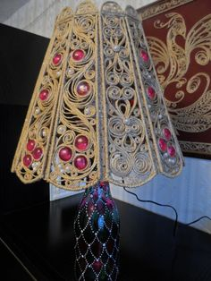 Jute lampshade looks absolutely gorgeous with light on
