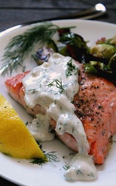 cucumber dill salmon ~ salmon filet topped with creamy cucumber dill sauce served with brussels sprouts - Site Cucumber Dill Sauce, Dill Sauce For Salmon, Creamy Dill Sauce, Dill Salmon, Salmon Pasta, Glazed Salmon, Healthy Salmon Recipes, Seafood Recipes, Cooking Recipes