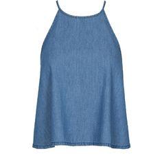 Denim Halterneck Swing Crop Top ($14) ❤ liked on Polyvore featuring tops, crop tops, tank tops, shirts, blue shirt, denim crop top, crop shirts, shirts & tops and denim shirt