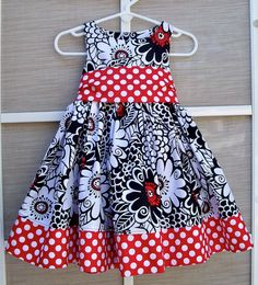 Michael Miller Black Zesty Zinnia & Minnie Ta Dot Party/Holiday Dress Size 6 months - 8 years old