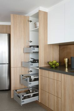Inside the kitchens of The Block 2015: Dean & Shay. Featuring Hettich hardware. #theblock #kitchenstorage