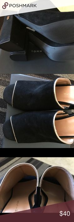 Black shoes I love this soft black velvety like sandals from Tommy Hilfiger. Tommy Hilfiger Shoes Sandals